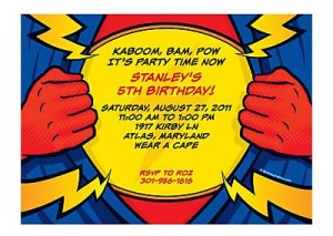 superhero party personalized invitation