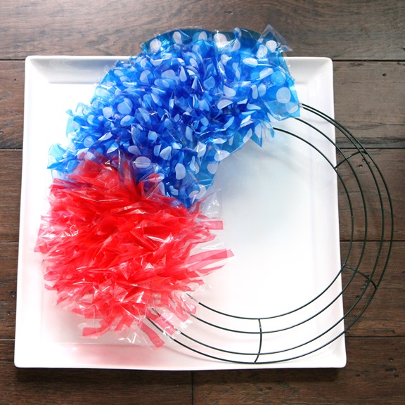 Patriotic Flag Style Wreath Progress