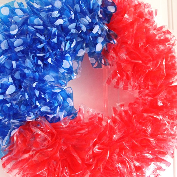Patriotic Flag Style Wreath Close Up