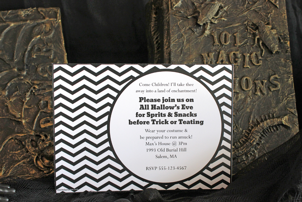 Diy hocus pocus party ideas party ideas activities by wholesale hour on the big night with an invitation filled with the trendy chevron look tip fill your hocus pocus themed party with fun phrases and song lyrics stopboris Choice Image