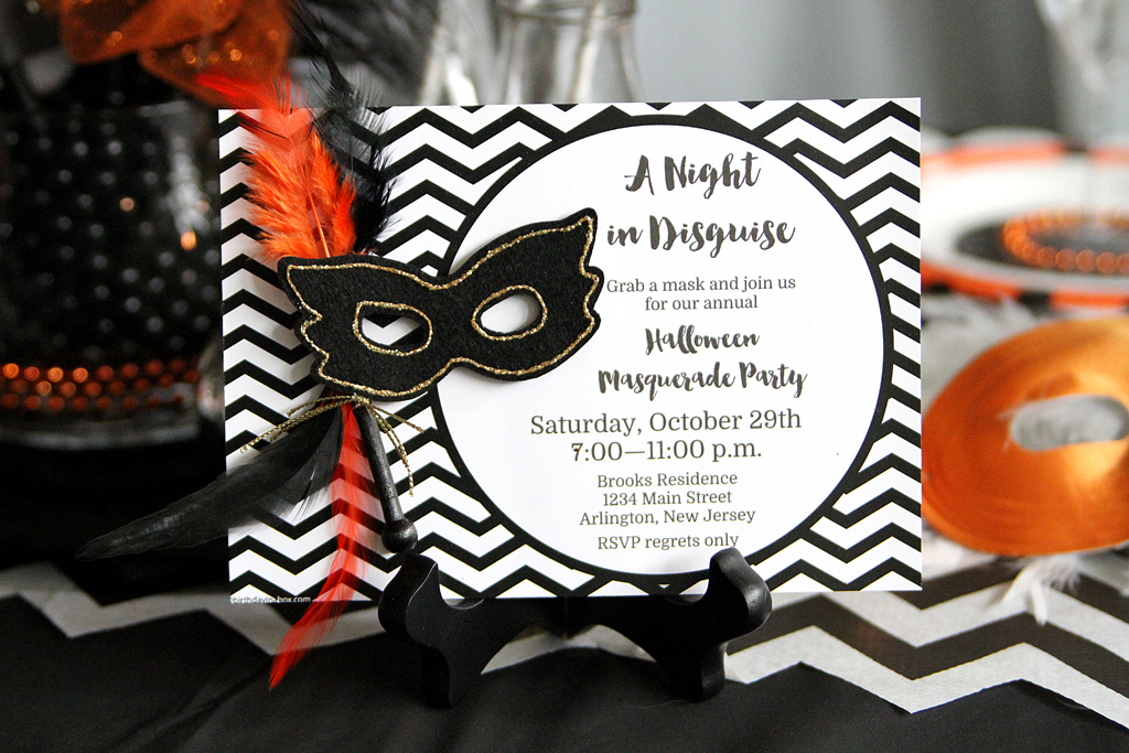 Set The Tone And Theme For Evening With This Embellished Chevron Invitation A Felt Mask Complete Glitter Feathers Wooden Handle Introduces