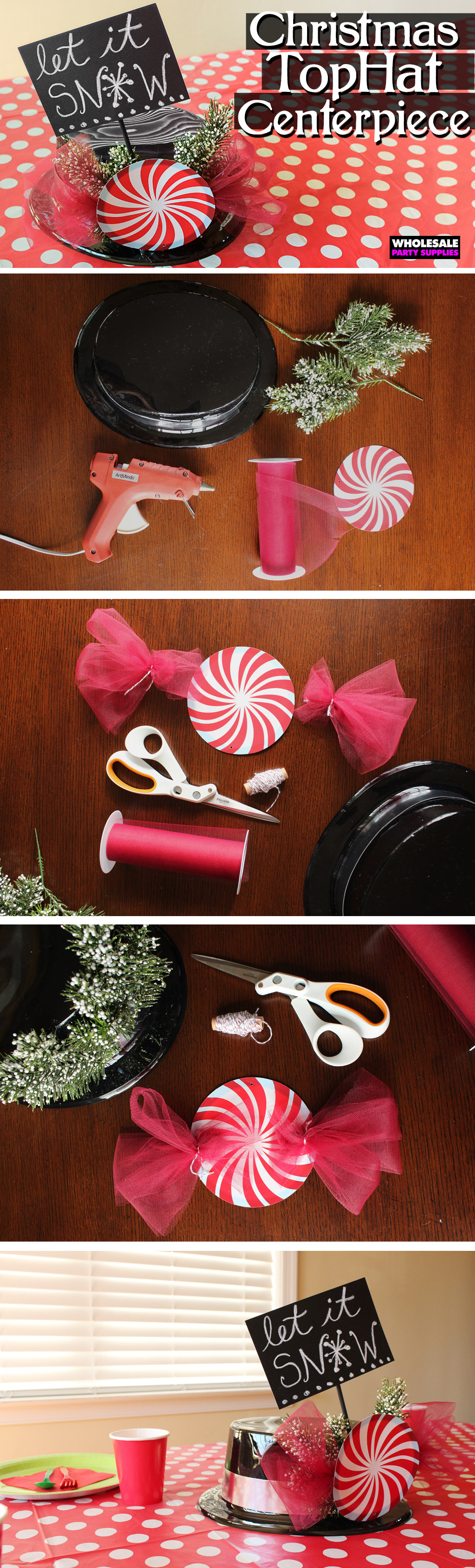 Diy top hat christmas centerpiece party ideas