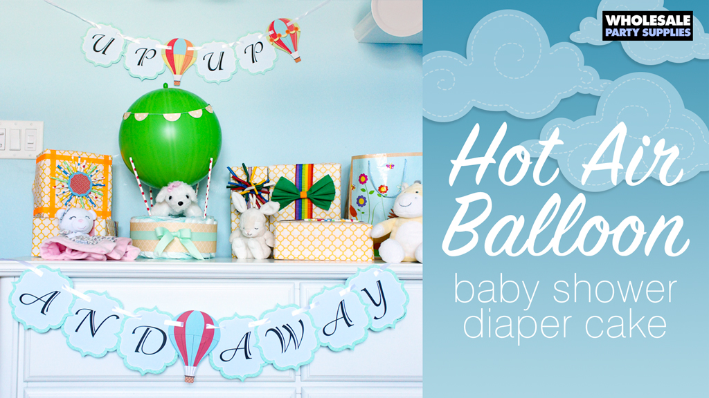 Hot Air Balloon Baby Shower Diaper Cake
