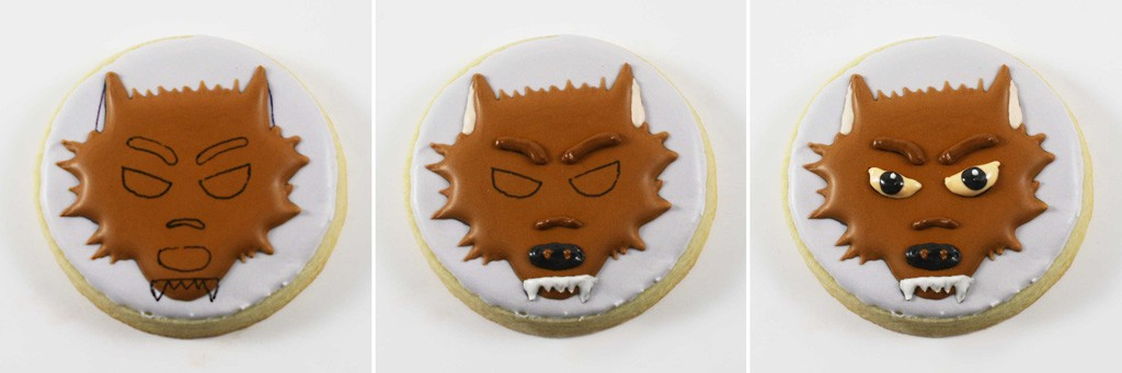 Iced Werewolf Sugar Cookie Halloween Party Favor