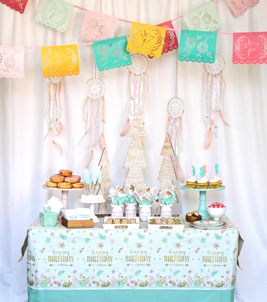 Cozy Boho Birthday Party Table