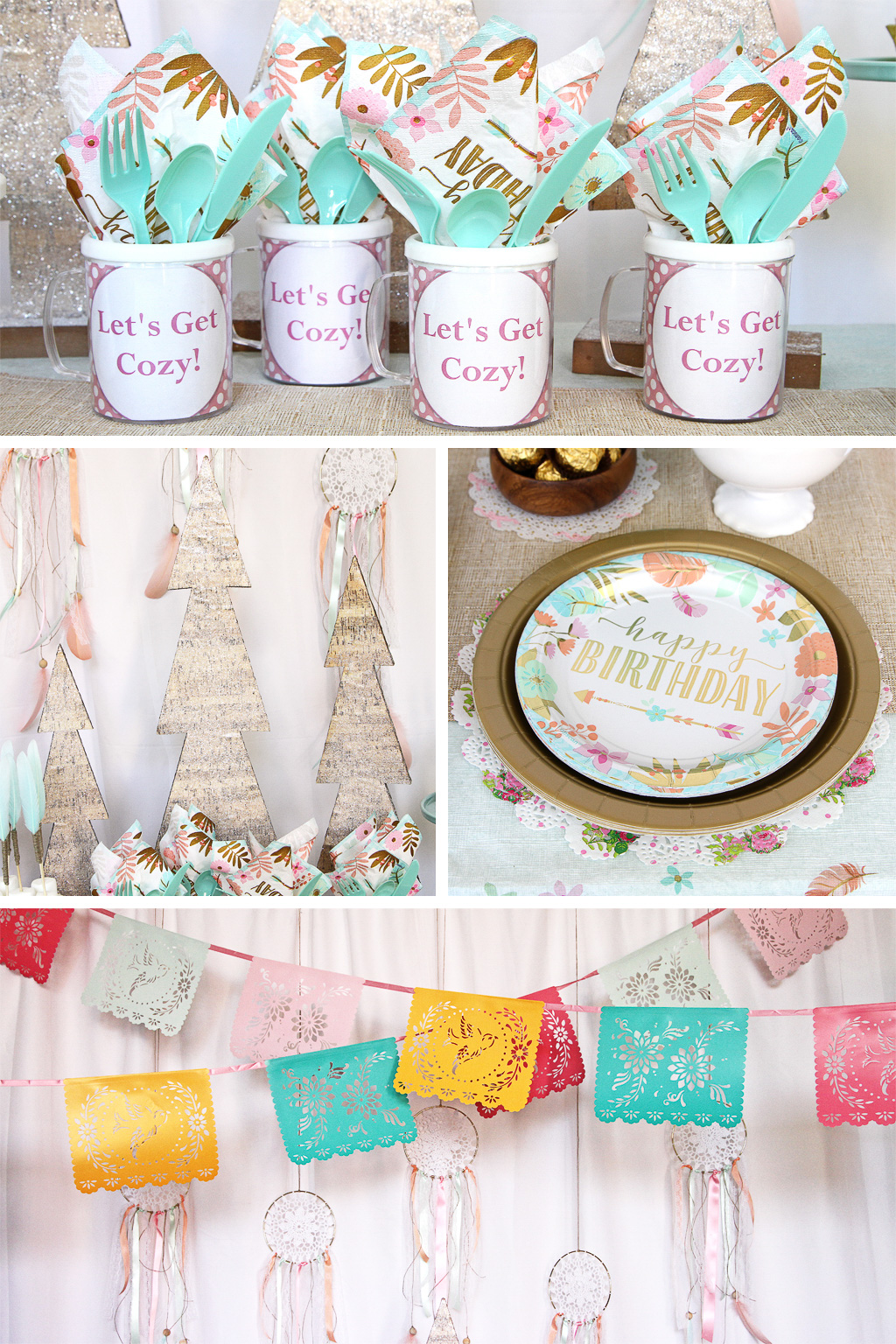 Cozy Boho Birthday Party Tableware