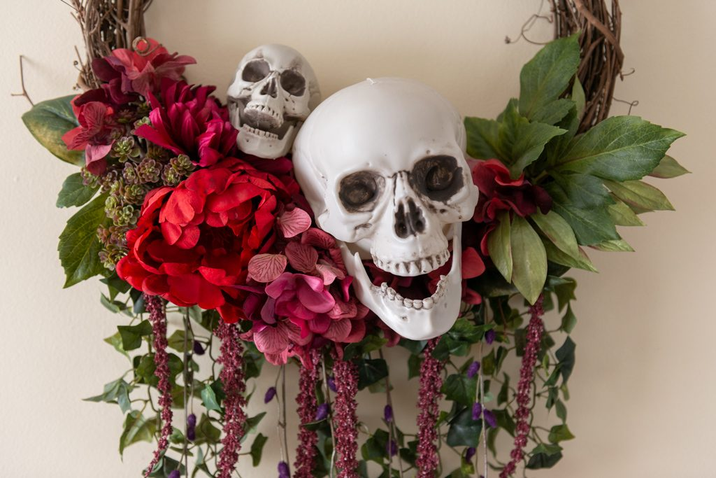 DIY Bones and Blossoms Halloween Wreath