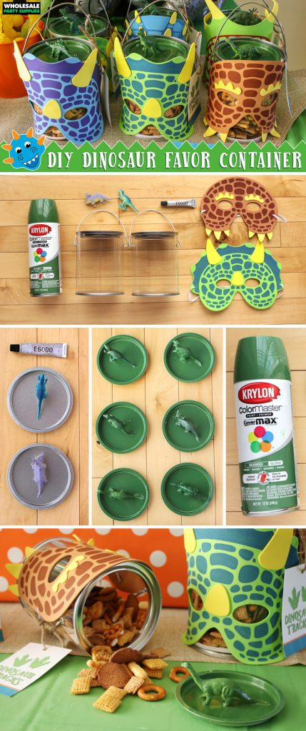 DIY Dinosaur Party Favor Container Tutorial Pinterest Guide