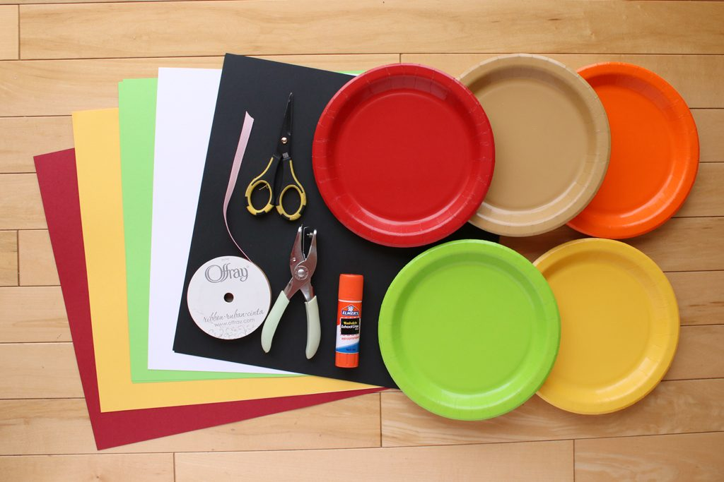 DIY Paper Plate Fruit Party Garland Supplies