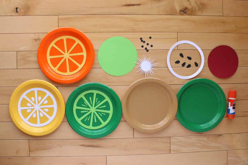 DIY Paper Plate Fruit Party Garland Step 1