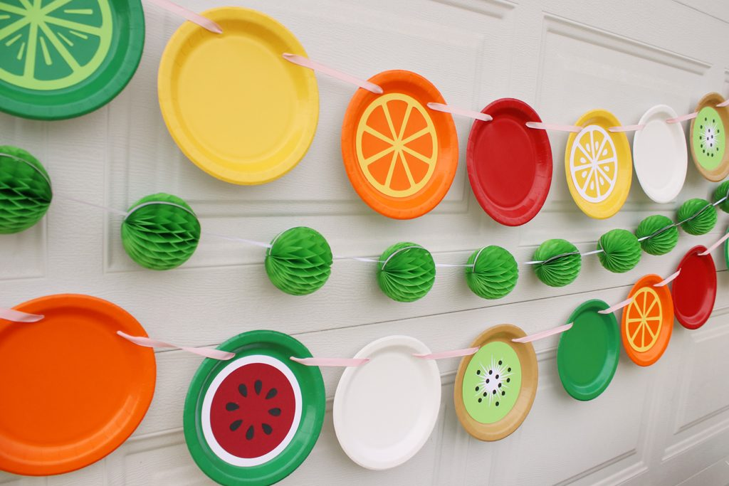 DIY Paper Plate Fruit Party Garland Step 4