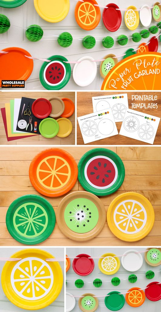 DIY Paper Plate Fruit Party Garland - FREE Template